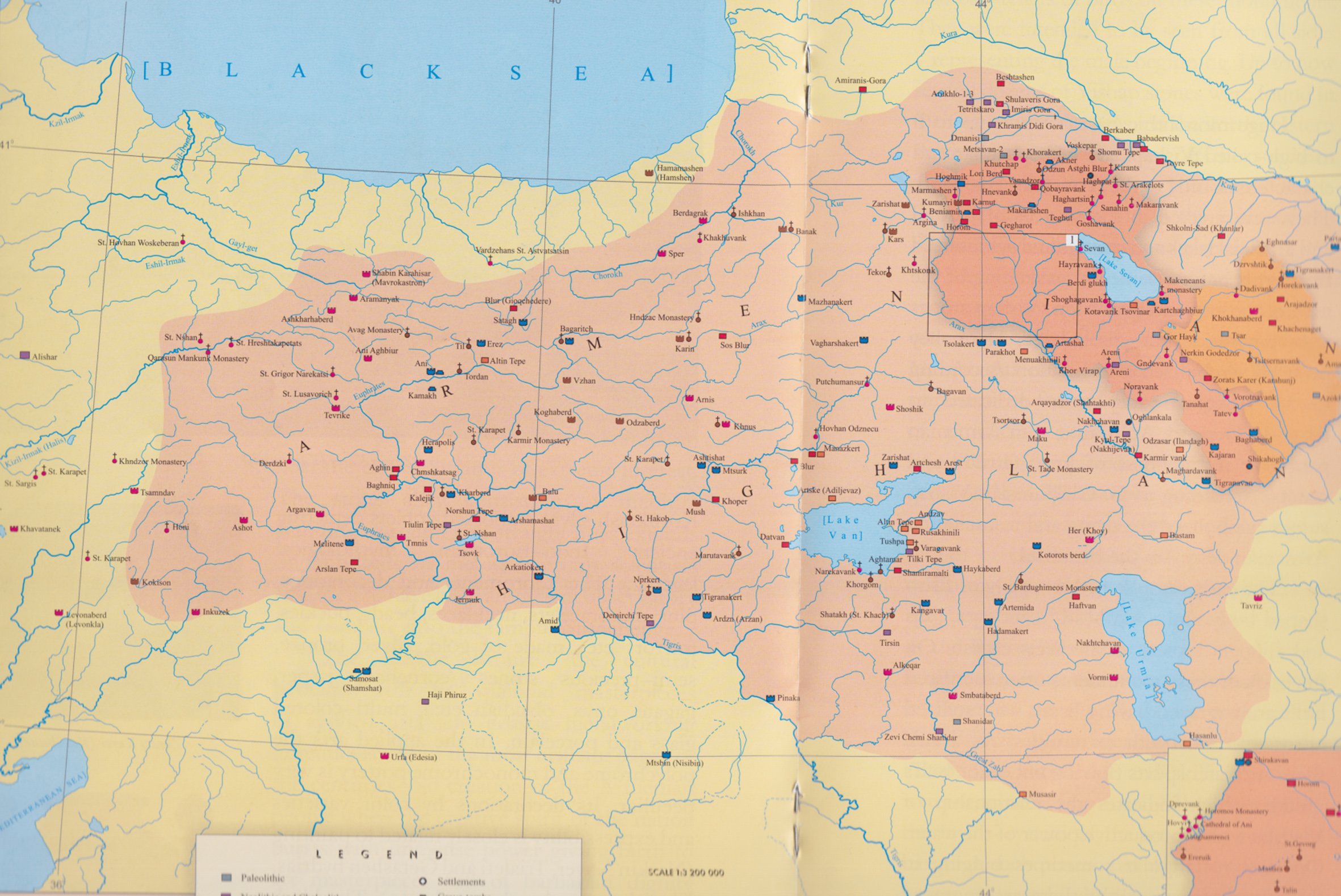 Historical Maps Of The Caucasus - Armenia physical map